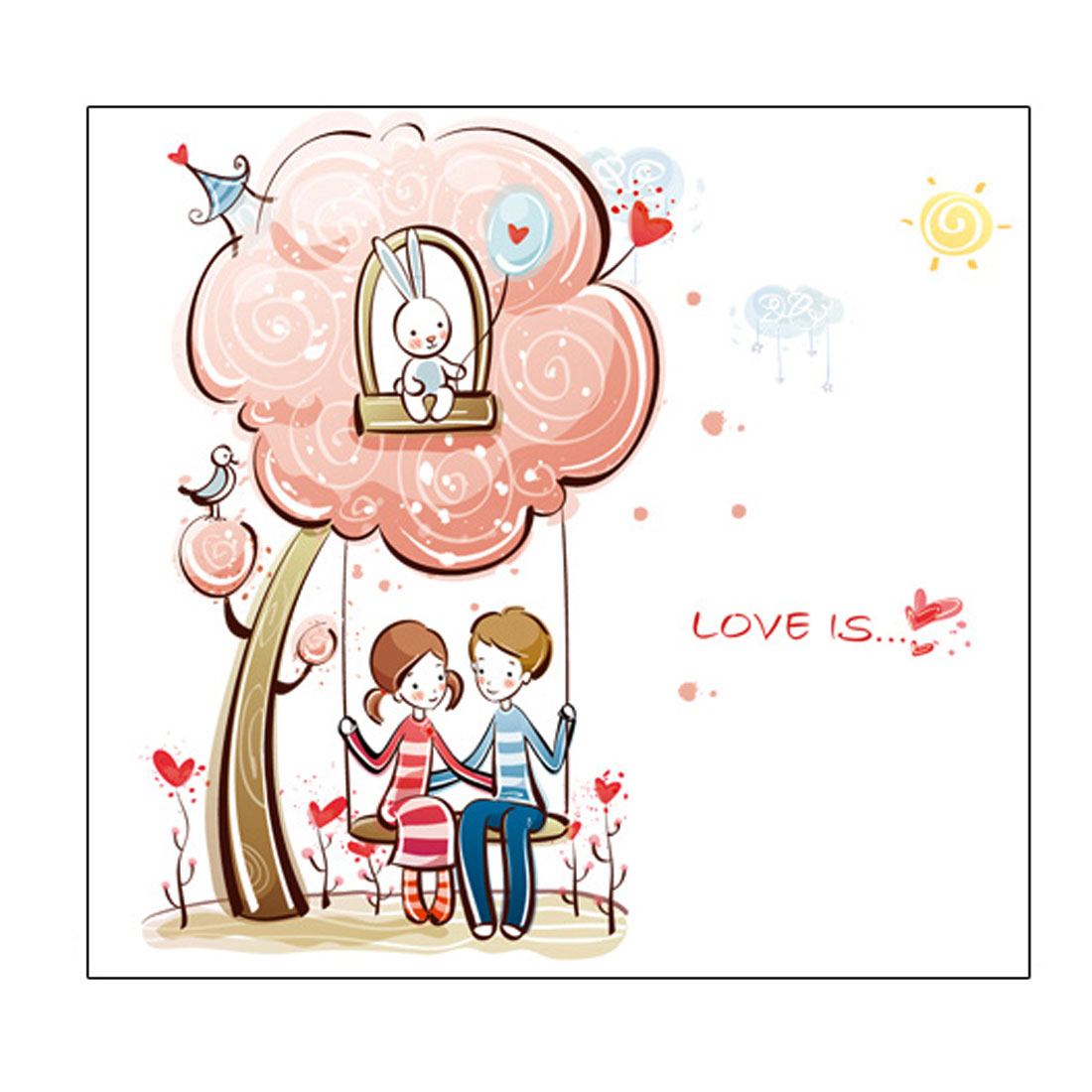 Swing Girl Boy Pattern Removable Wall Sticker Room Decor Decal