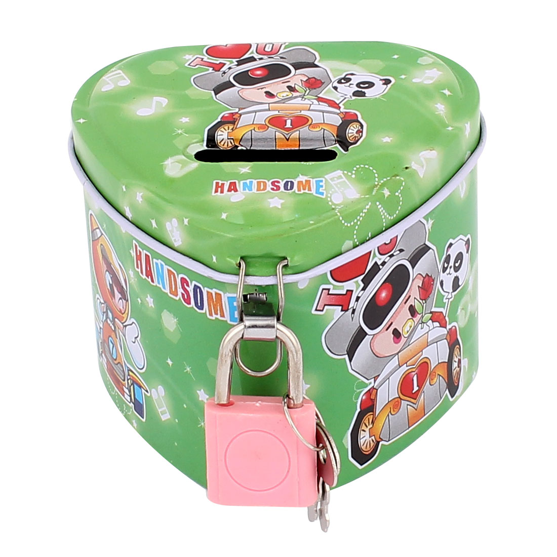 Cartoon Pig Pattern Metal Heart Shape Coin Money Saving Piggy Bank Box Case Green w Lock