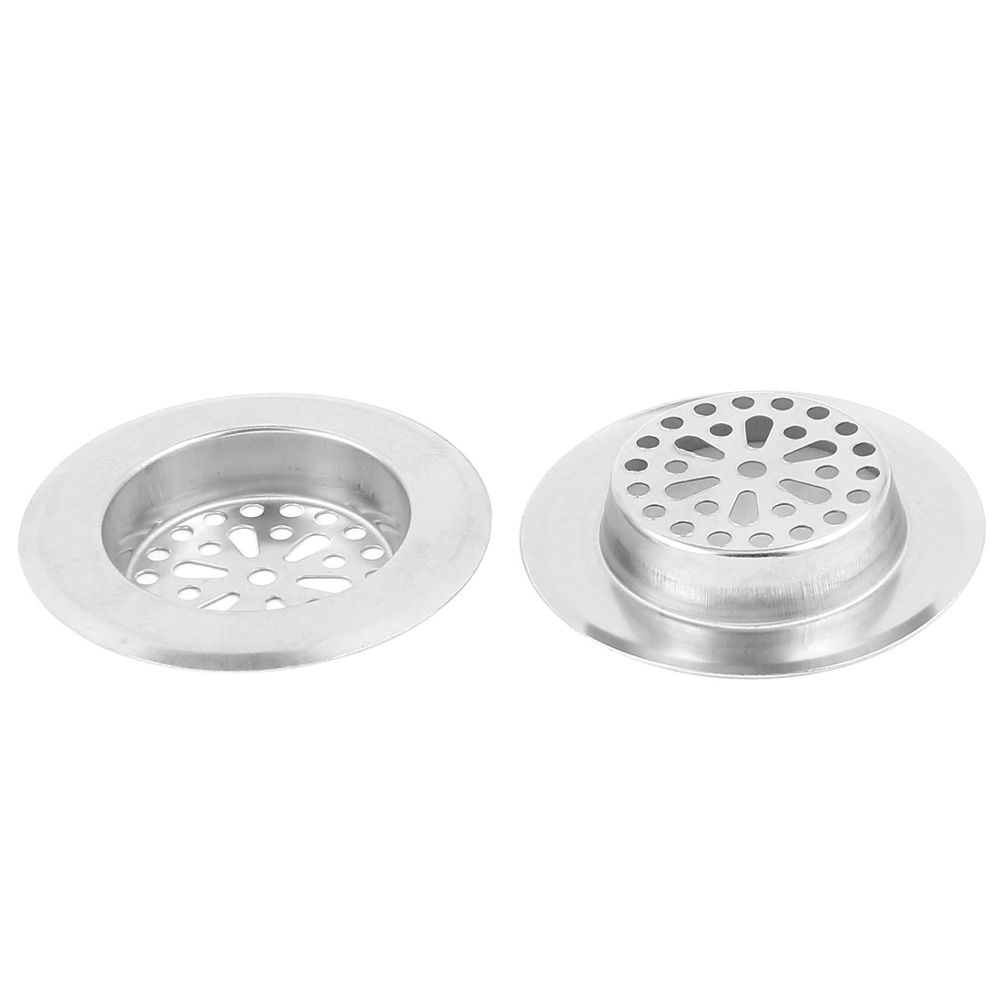 Bathroom Kitchen Stainless Steel Sink Strainer Drainer Filter Stopper 3 Inch Top Dia 2 Pcs