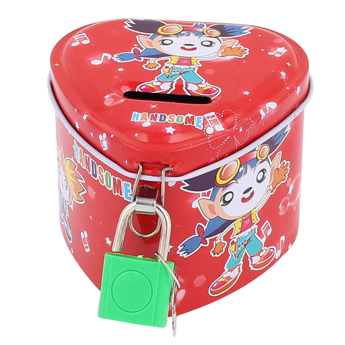 Cartoon Girls Pattern Metal Heart Shape Coin Money Saving Piggy Bank Box Case Red w Lock
