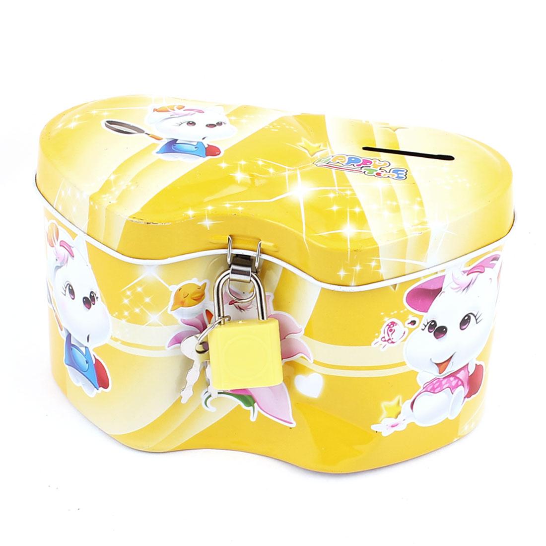 Cartoon Heart Pig Print Metal Coin Money Saving Piggy Bank Box Case Yellow w Lock