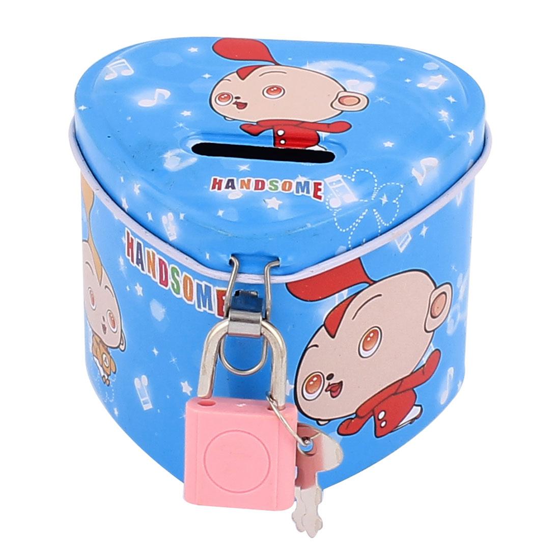 Cartoon Boys Pattern Metal Heart Shape Coin Money Saving Piggy Bank Box Case Blue w Lock