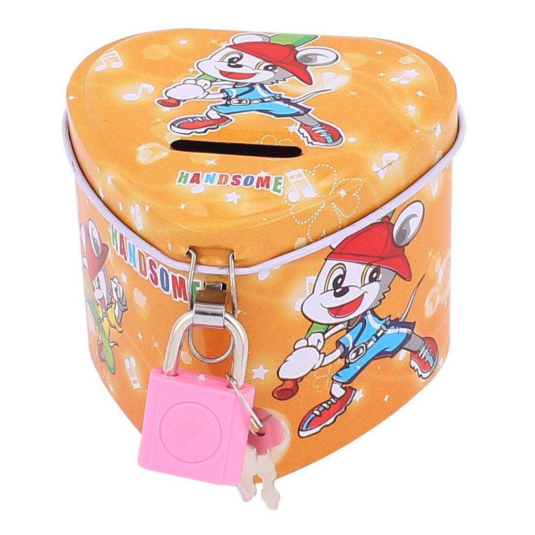 Cartoon Boys Pattern Metal Heart Shape Coin Money Saving Piggy Bank Box Case Dark Yellow w Lock