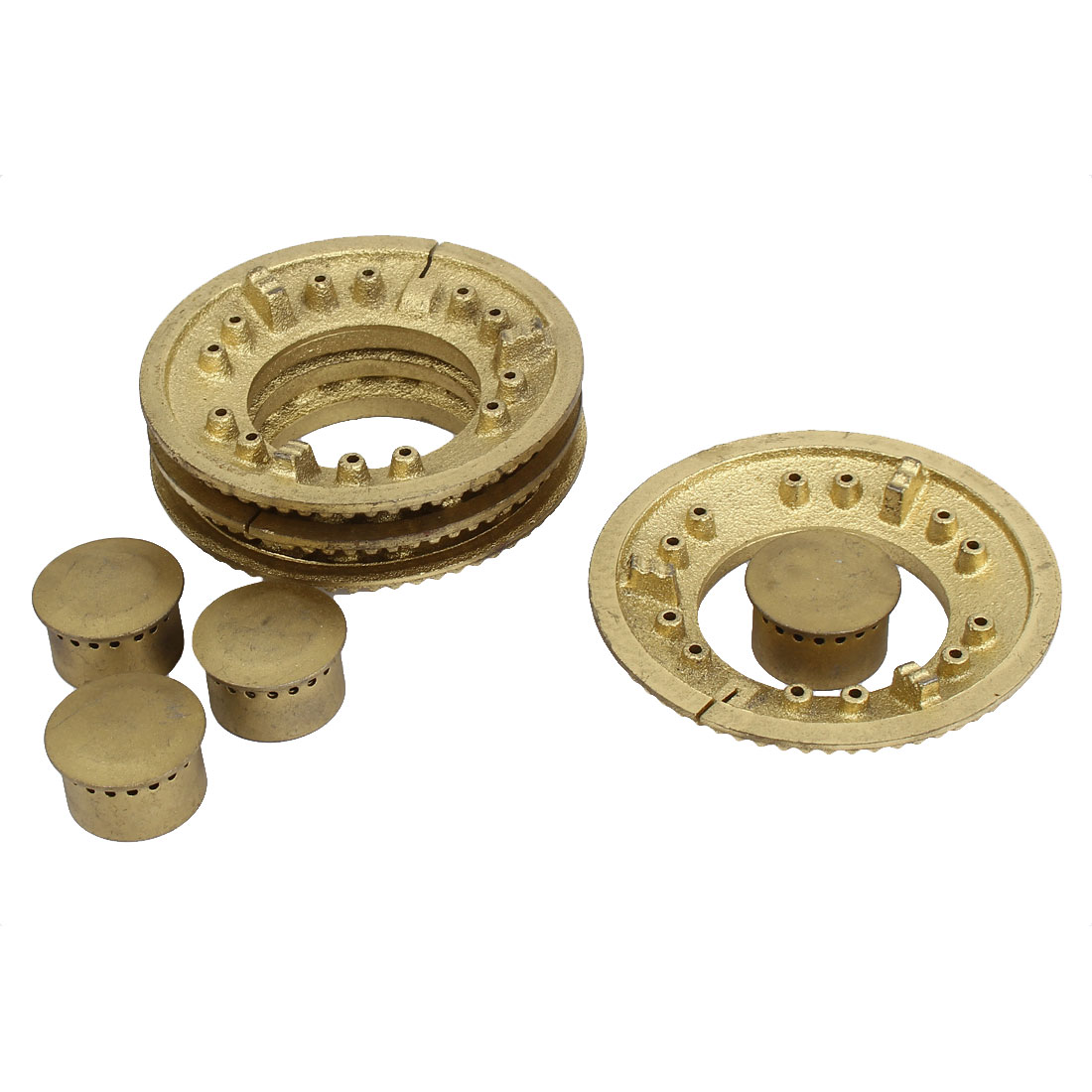 Replacement Kitchen Gas Stove Burner Cooker 100mm Dia Round Cap Gold Tone 4 Set