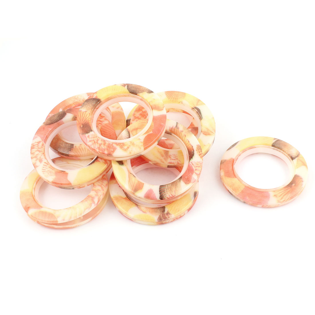 Bathroom Shower Window Curtain Marble Pattern Ring Hook Sliding Hanger Salmon Color 10Pcs