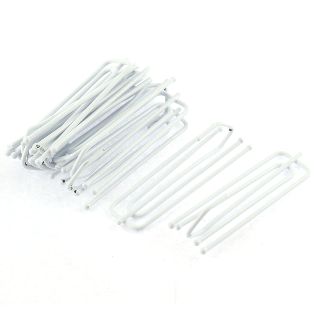 "White Metal 4 Prongs Pinch Pleat Drapes Curtain Hooks 2.8"" 10Pcs"