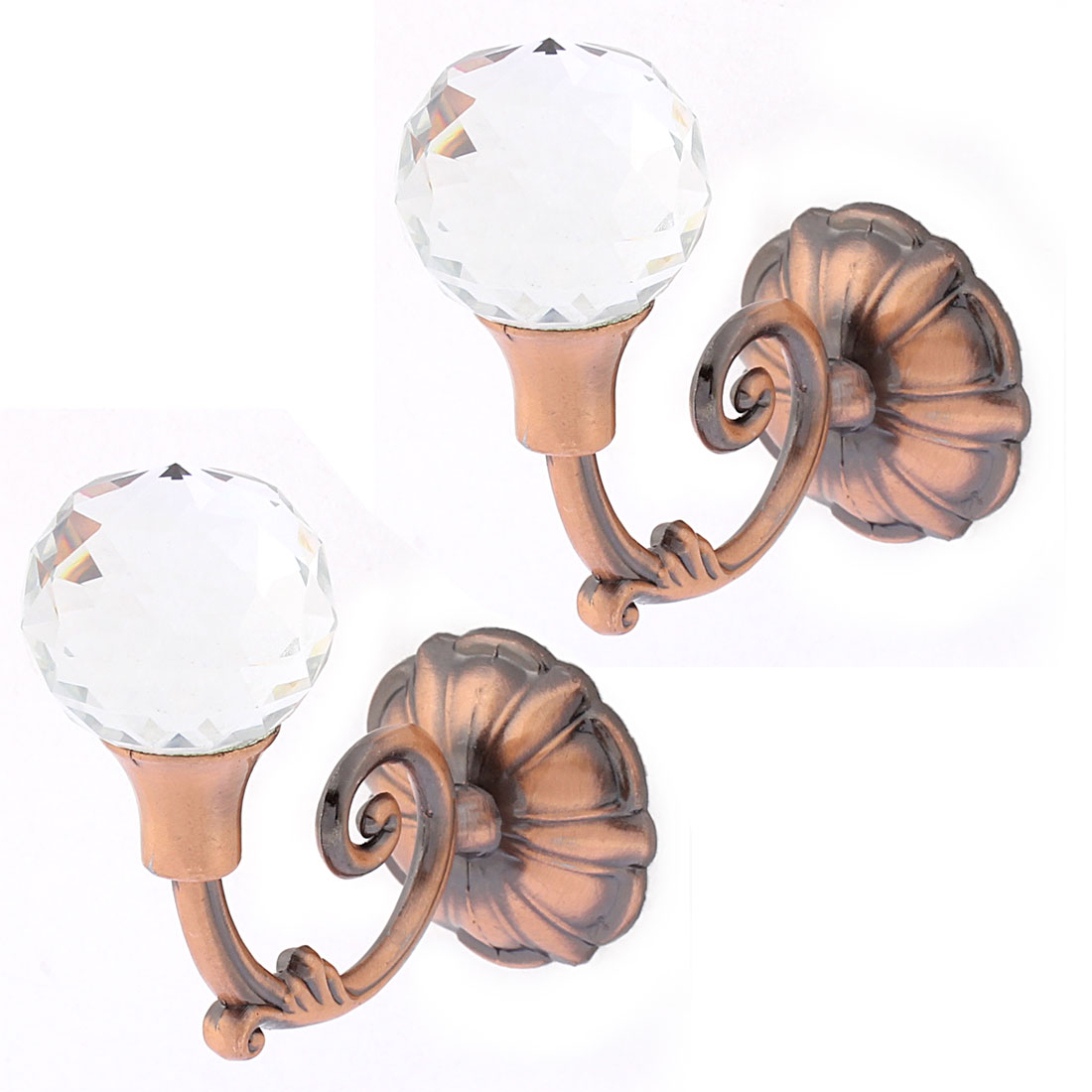 2Pcs Crystal Bead Drapery Curtain Hook Holder Hookback Tieback Copper Tone