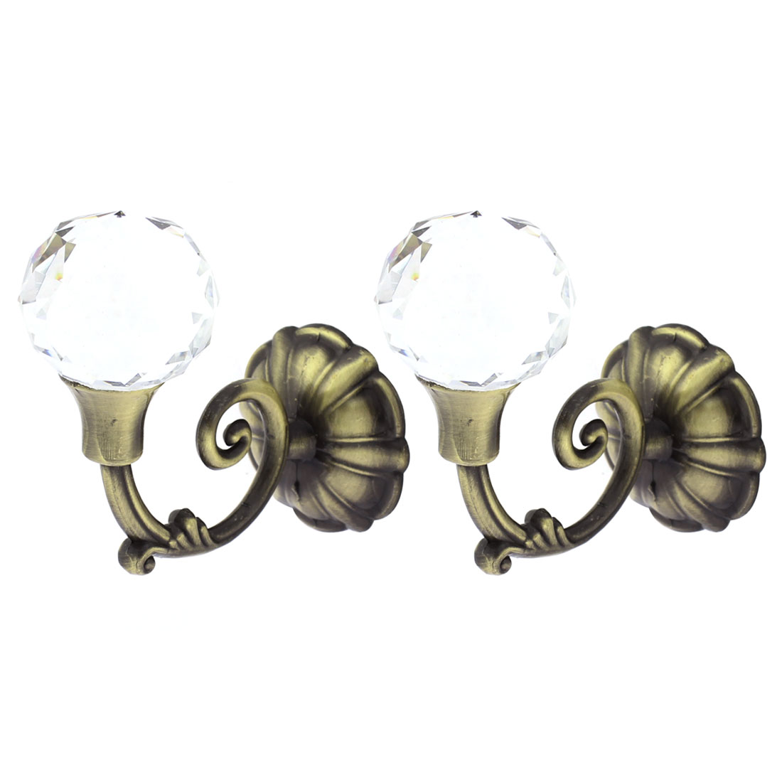 2Pcs Crystal Bead Drapery Curtain Hook Holder Hookback Tieback Bronze Tone