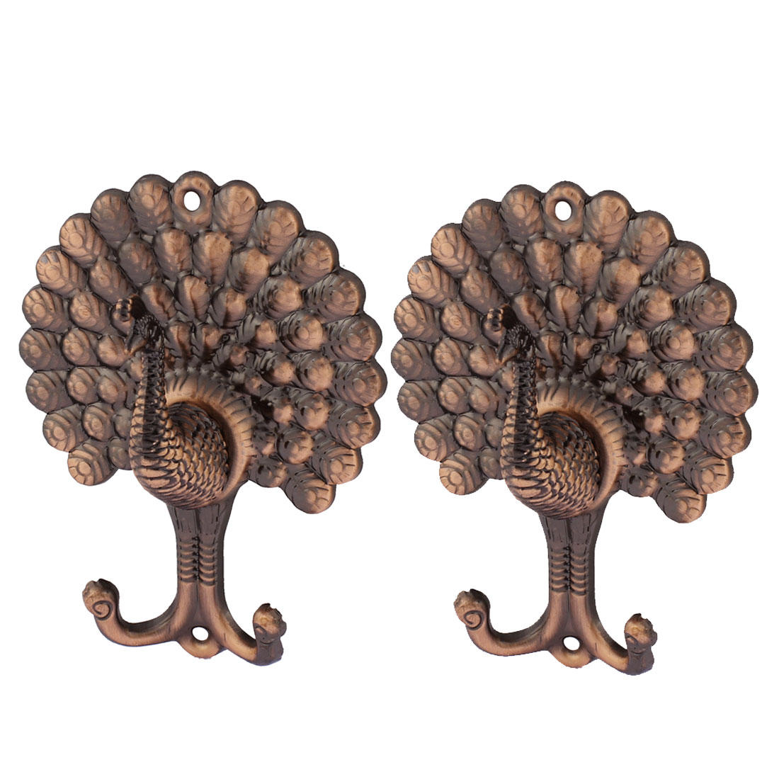 2Pcs Peacock Pattern Drapery Curtain Hook Holder Hanger Hookback Tieback Copper Tone