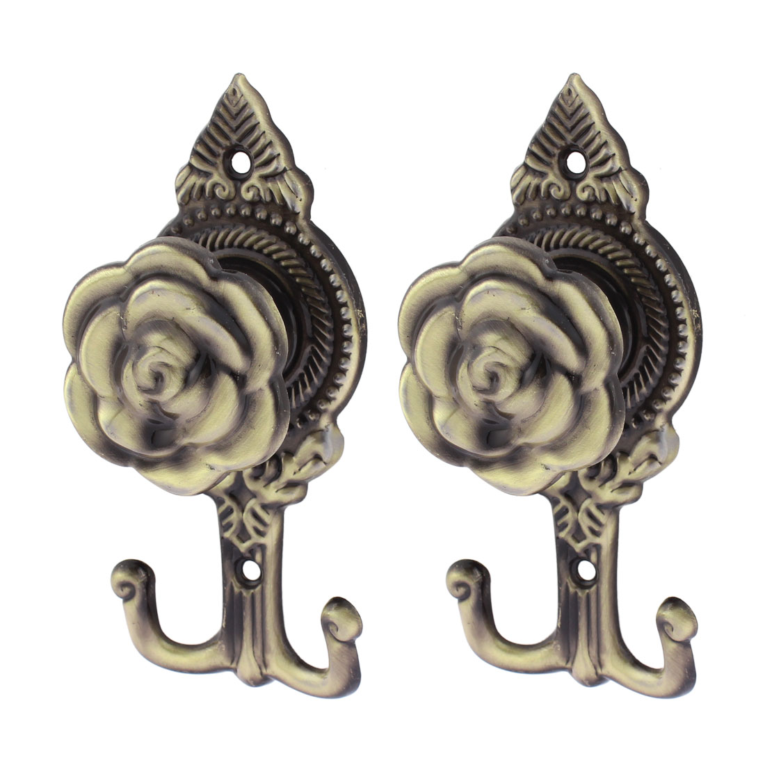 2Pcs Flower Pattern Drapery Curtain Wall Tassel Hook Holder Hookback Tieback Bronze Tone