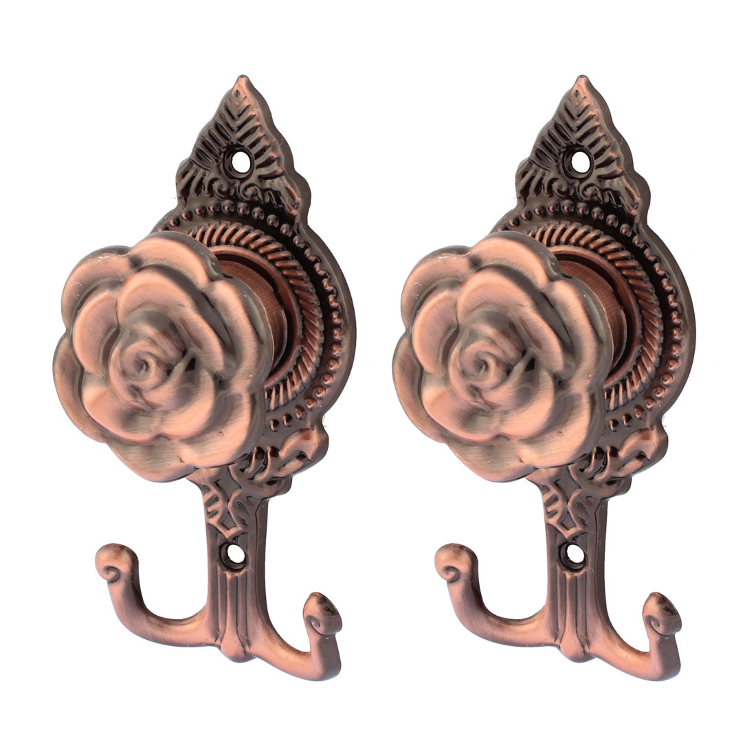 2Pcs Rose Pattern Drapery Curtain Wall Tassel Hook Holder Hookback Tieback Copper Tone