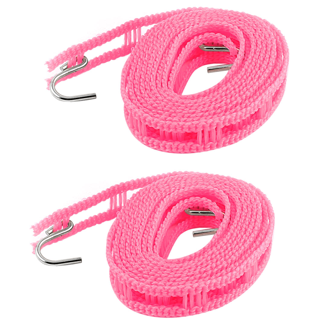 Camping Outdoor Laundry Plastic Clothesline Clothes Towel Hanger Line Rope w Hooks 2M Pink 2pcs