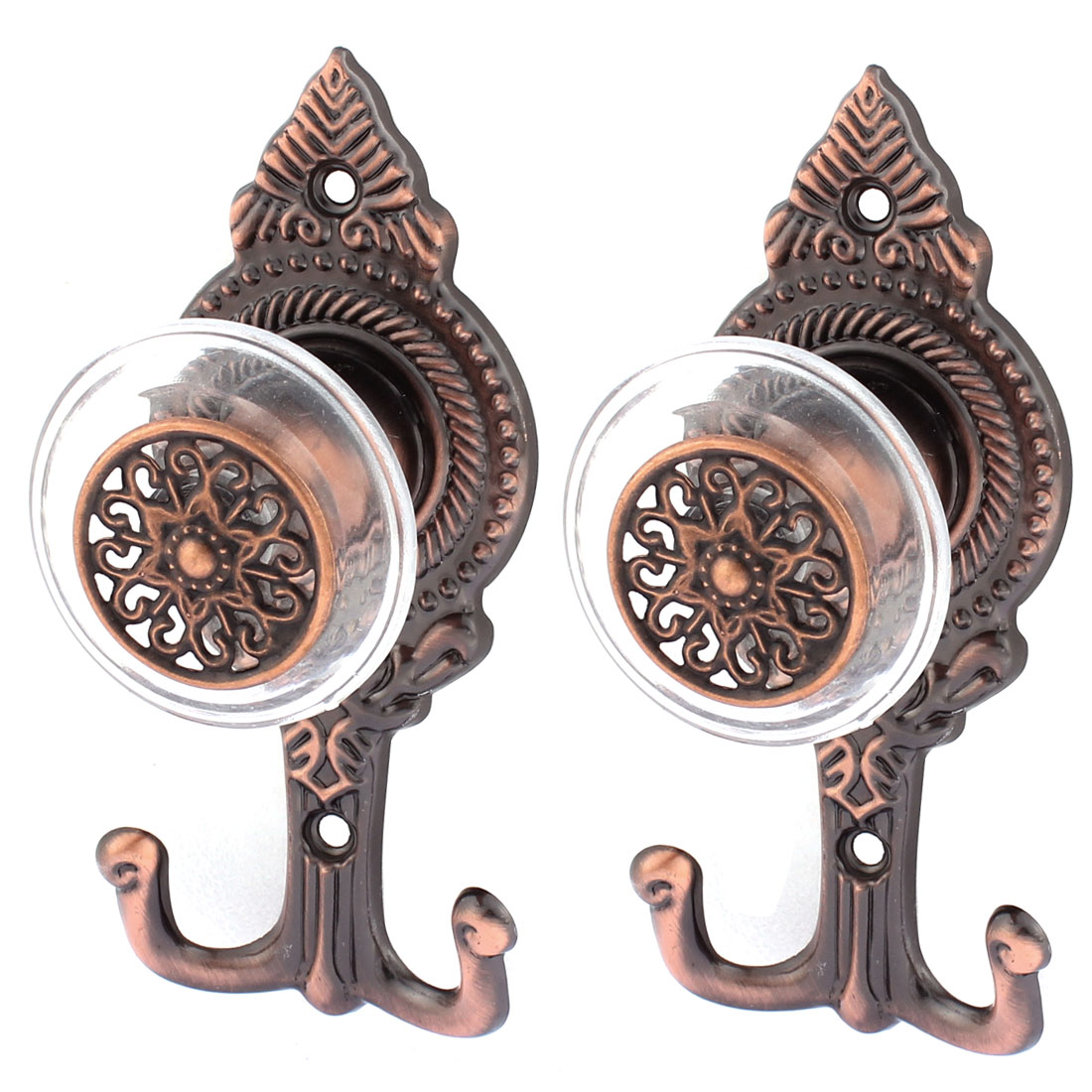 2Pcs Vintage Style Drapery Curtain Tassel Wall Hook Holder Hookback Tieback Copper Tone