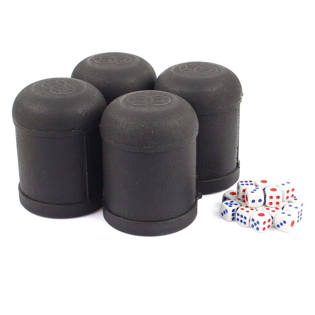 Pub Bar KTV Casino Lucky Games Plastic Shaker Cup 4pcs Black w Dices