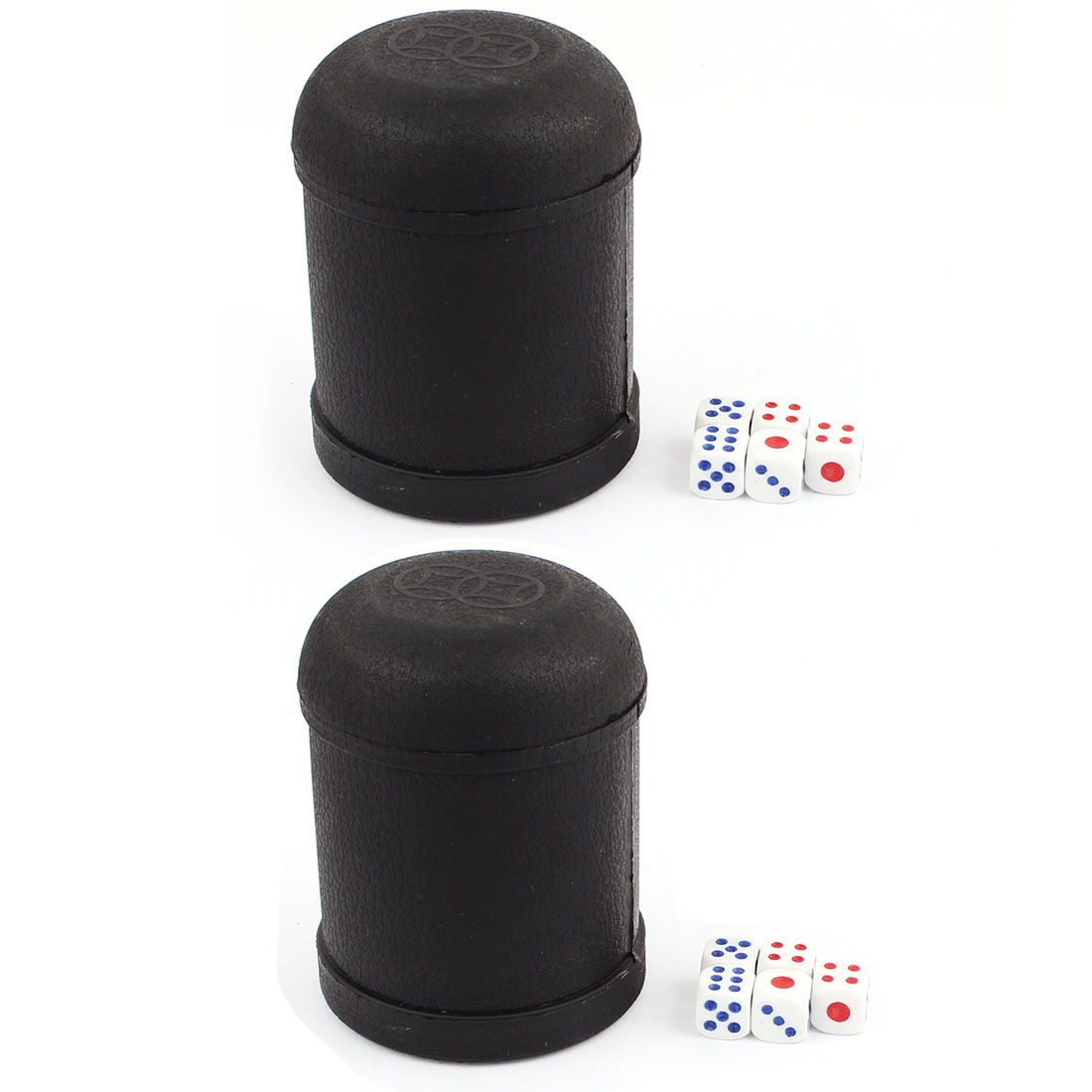 Pub Bar KTV Casino Lucky Games Plastic Shaker Cup 2pcs Black w Dices