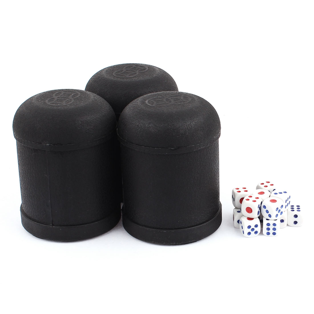 Pub Bar KTV Casino Lucky Games Plastic Shaker Cup 3pcs Black w Dices