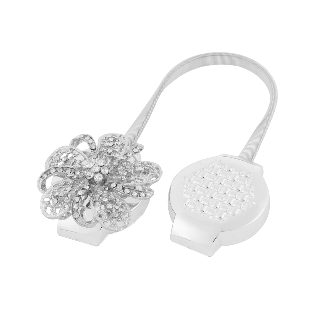 Flower Shaped Crystal Decor Magnetic Curtain Clip Tie Back Holdback Silver Tone