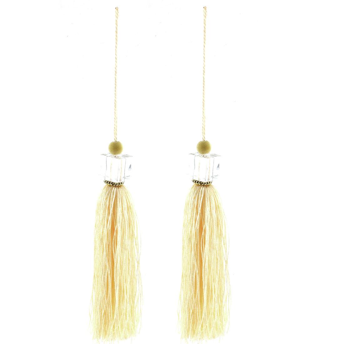 2Pcs Silky Tassels Pendant Sewing DIY Craft Supply Curtain Drapery Deco Light Yellow