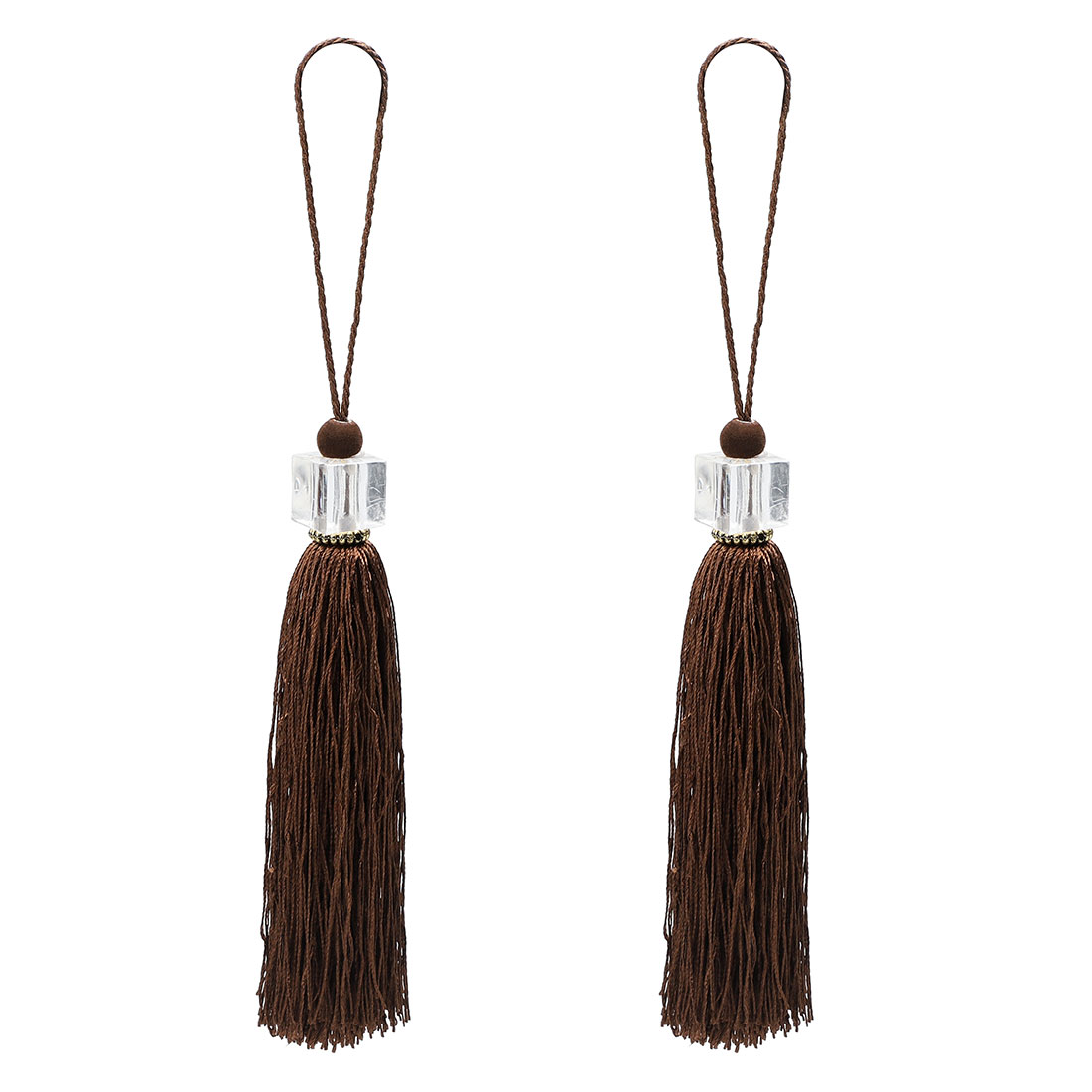 2Pcs Silky Tassels Pendant Sewing DIY Craft Supply Curtain Drapery Deco Coffee Color
