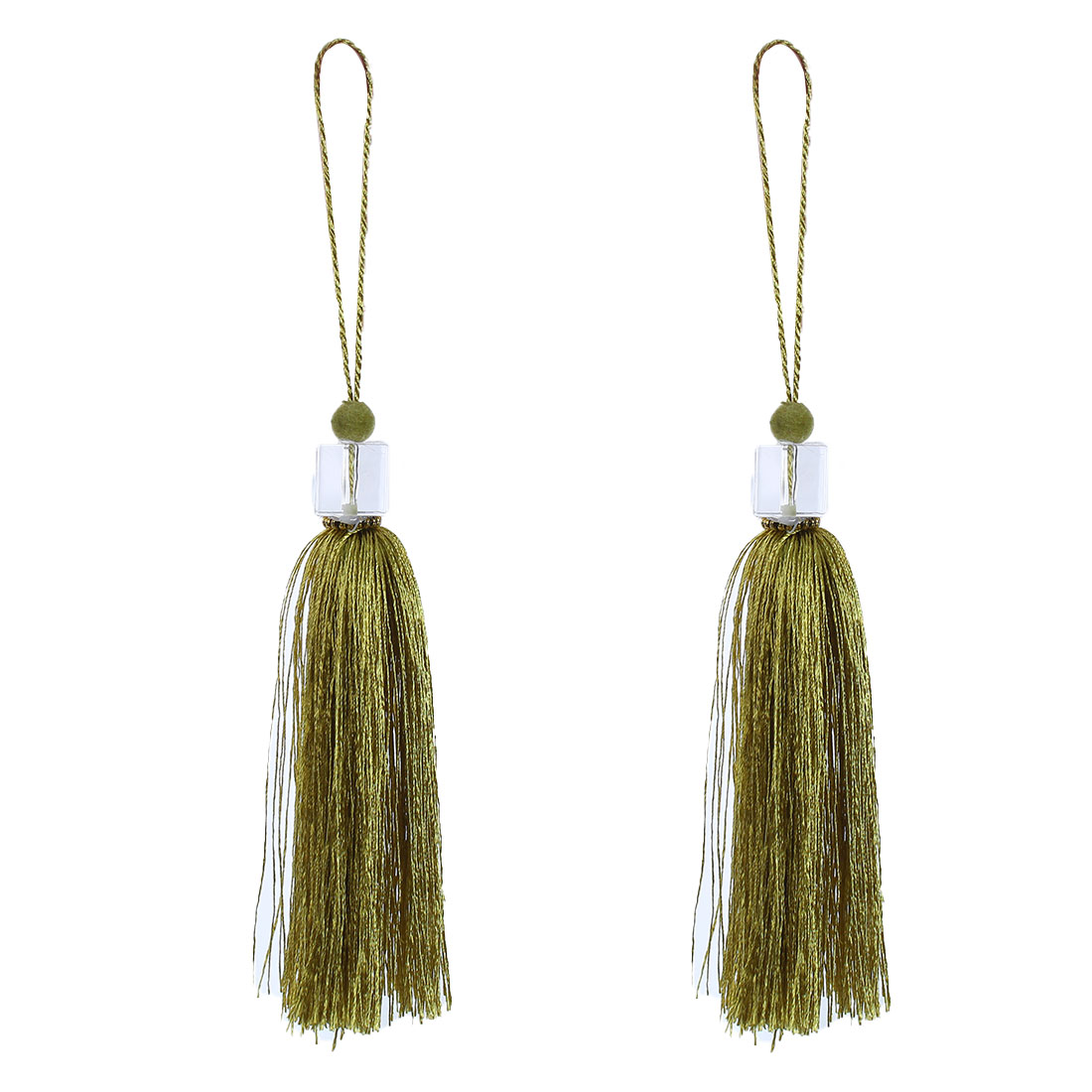 2Pcs Silky Tassels Pendant Sewing DIY Craft Supply Curtain Drapery Deco Olive Color