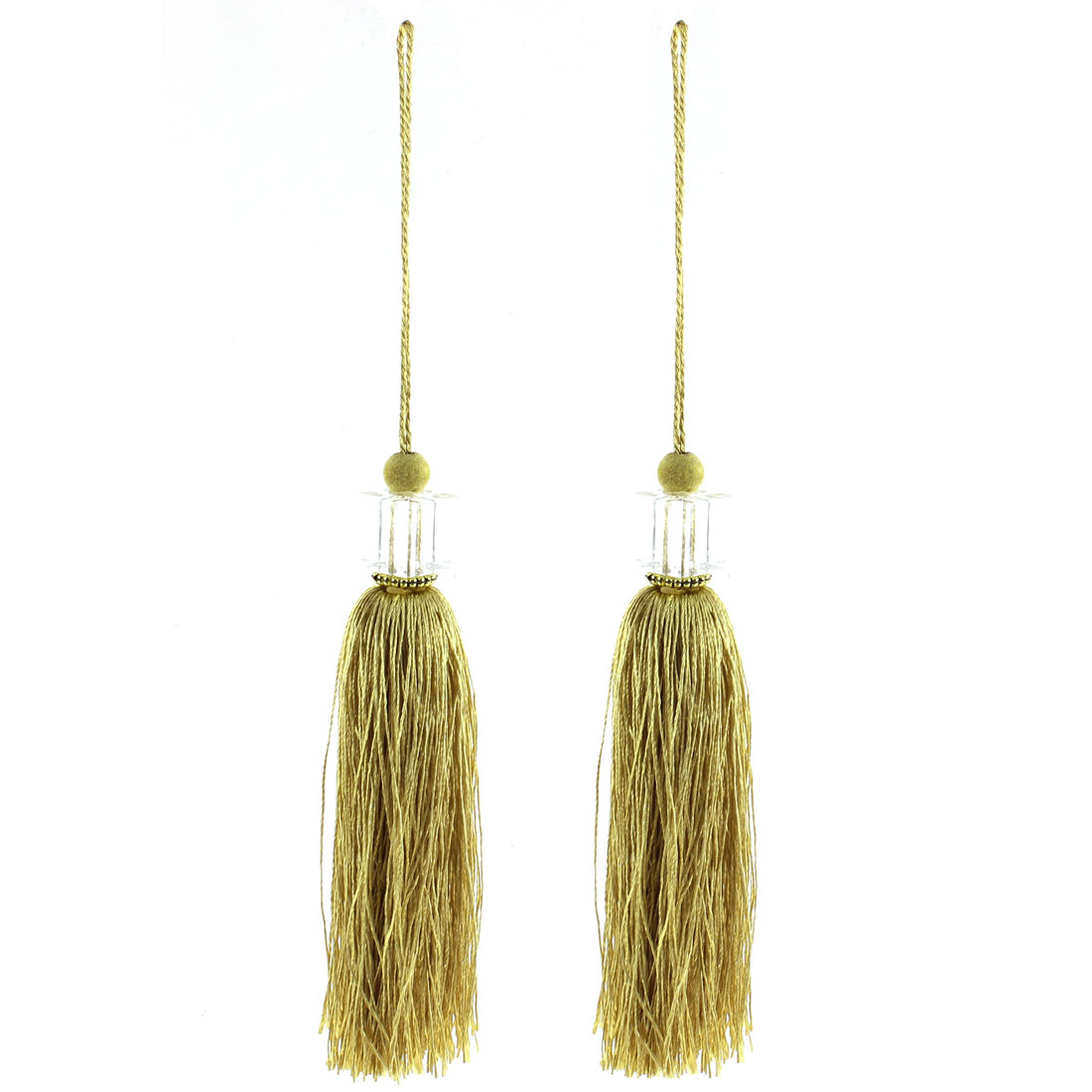 2Pcs Silky Tassels Pendant Sewing DIY Craft Supply Curtain Drapery Deco Grass Yellow