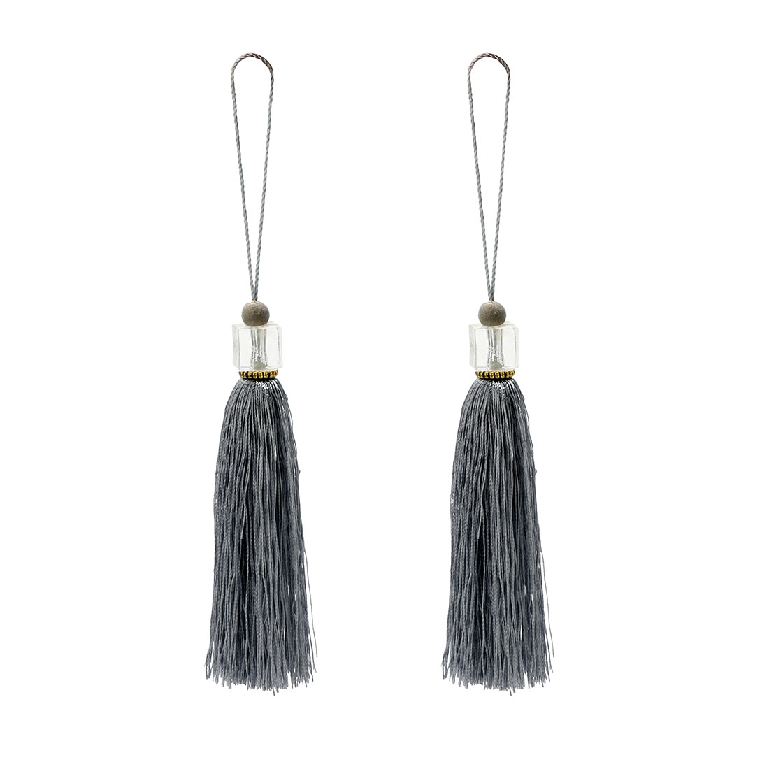 2Pcs Silky Tassels Pendant Sewing DIY Craft Supply Curtain Drapery Deco Gray