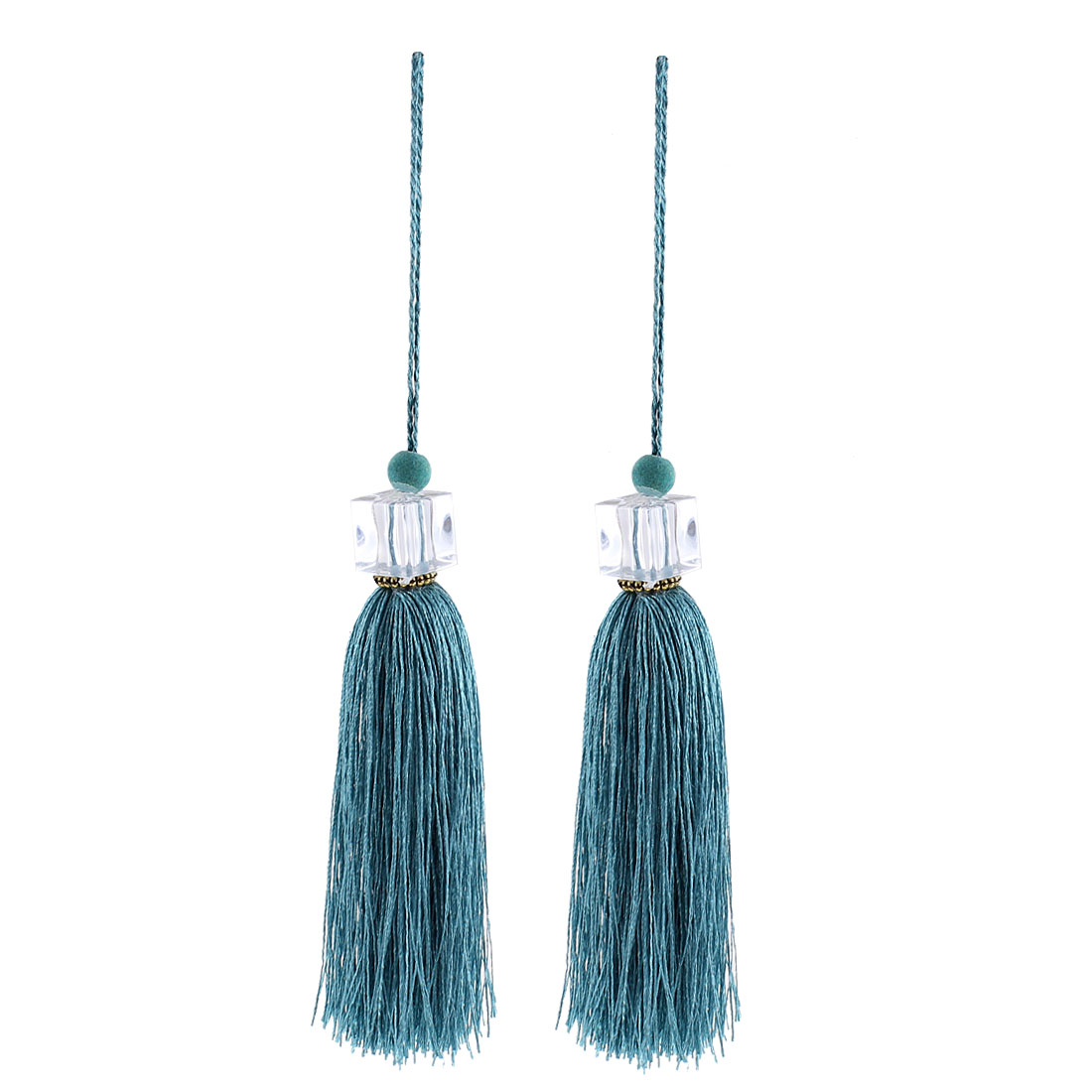 2Pcs Silky Tassels Pendant Sewing DIY Craft Supply Curtain Drapery Deco Light Green