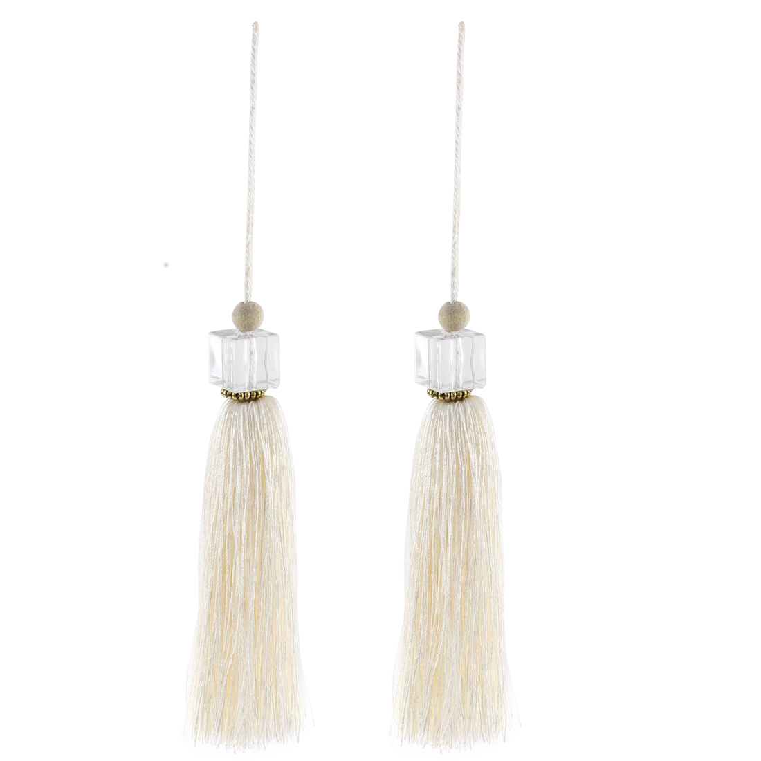 2Pcs Silky Tassels Pendant Sewing DIY Craft Supply Curtain Drapery Deco White