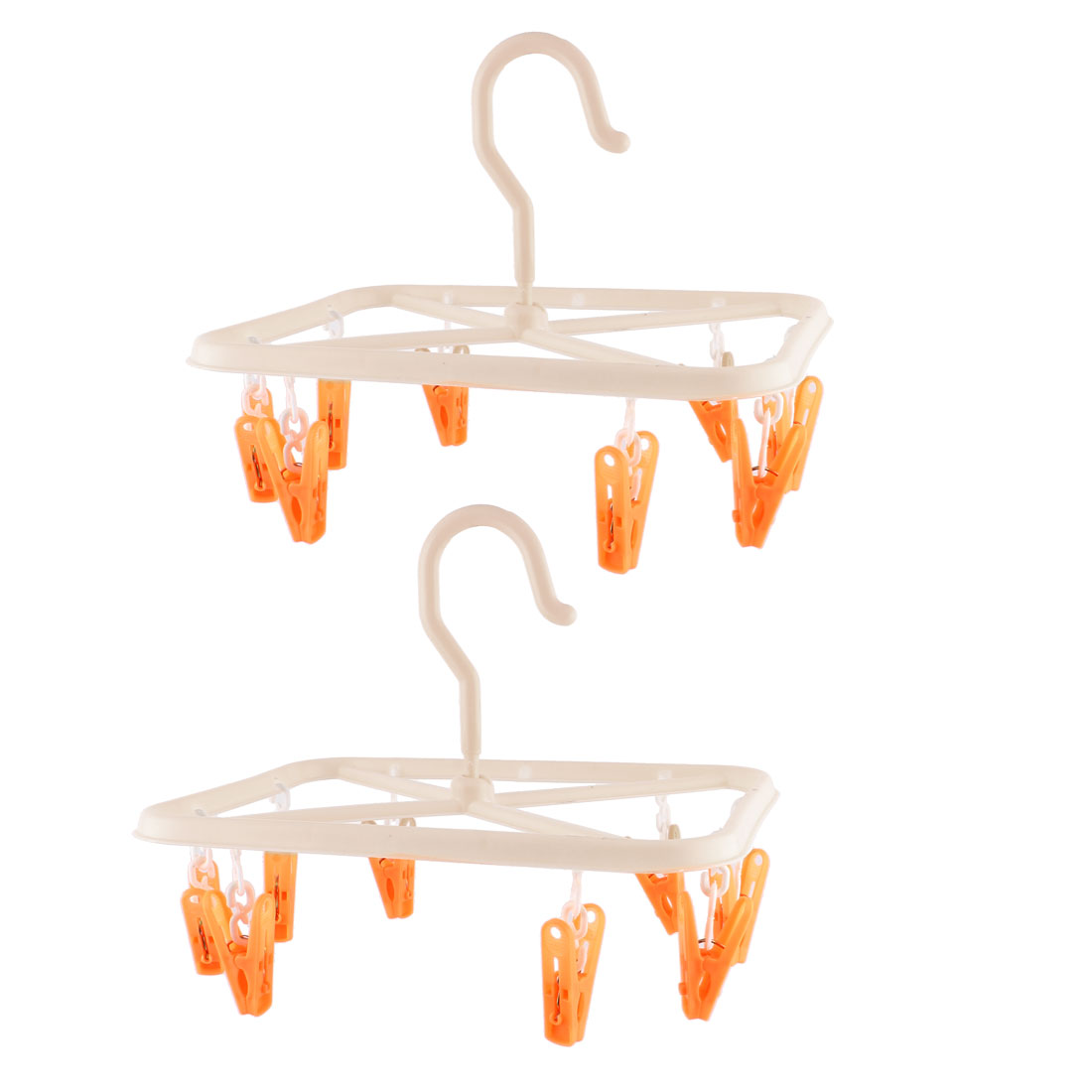 8 Pegs Rack Laundry Clothes Underwear Socks Hanger Hanging Dryer Orange 2PCS