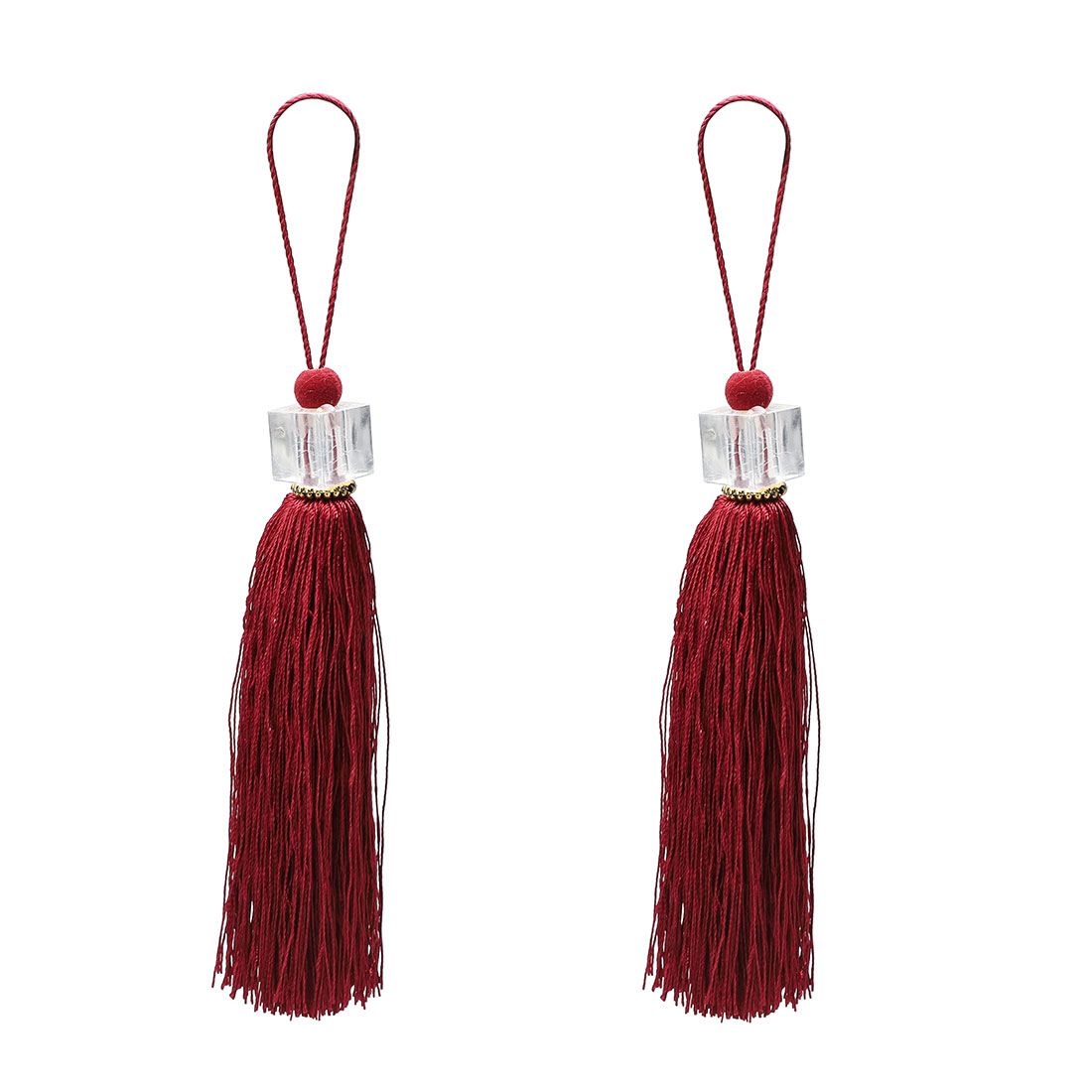 2Pcs Silky Tassels Pendant Sewing DIY Craft Supply Curtain Drapery Deco Dark Red
