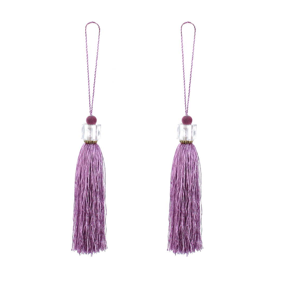 2Pcs Silky Tassels Pendant Sewing DIY Craft Supply Curtain Drapery Deco Light Purple
