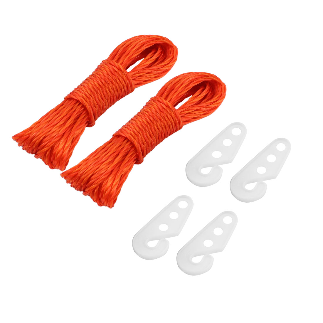 Camping Outdoor Laundry Nylon Clothesline Clothes Towels Hanger Line Rope String w Hooks 33Ft 10M Orange 2pcs