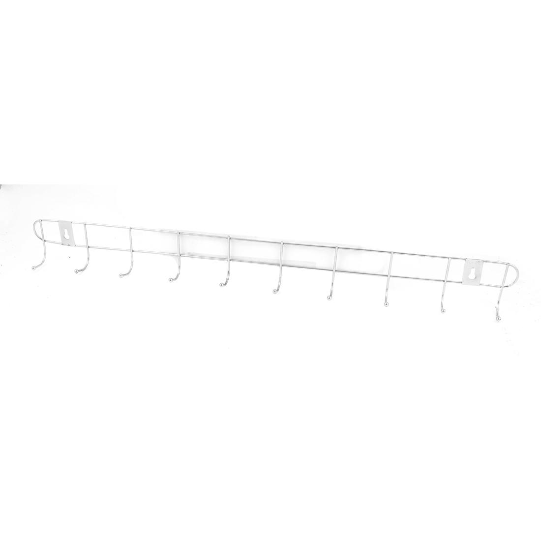 Home Bedroom Bathroom Hat Coat Towel Wall Mounted Metal 10 Hooks Hanger Rack Holder
