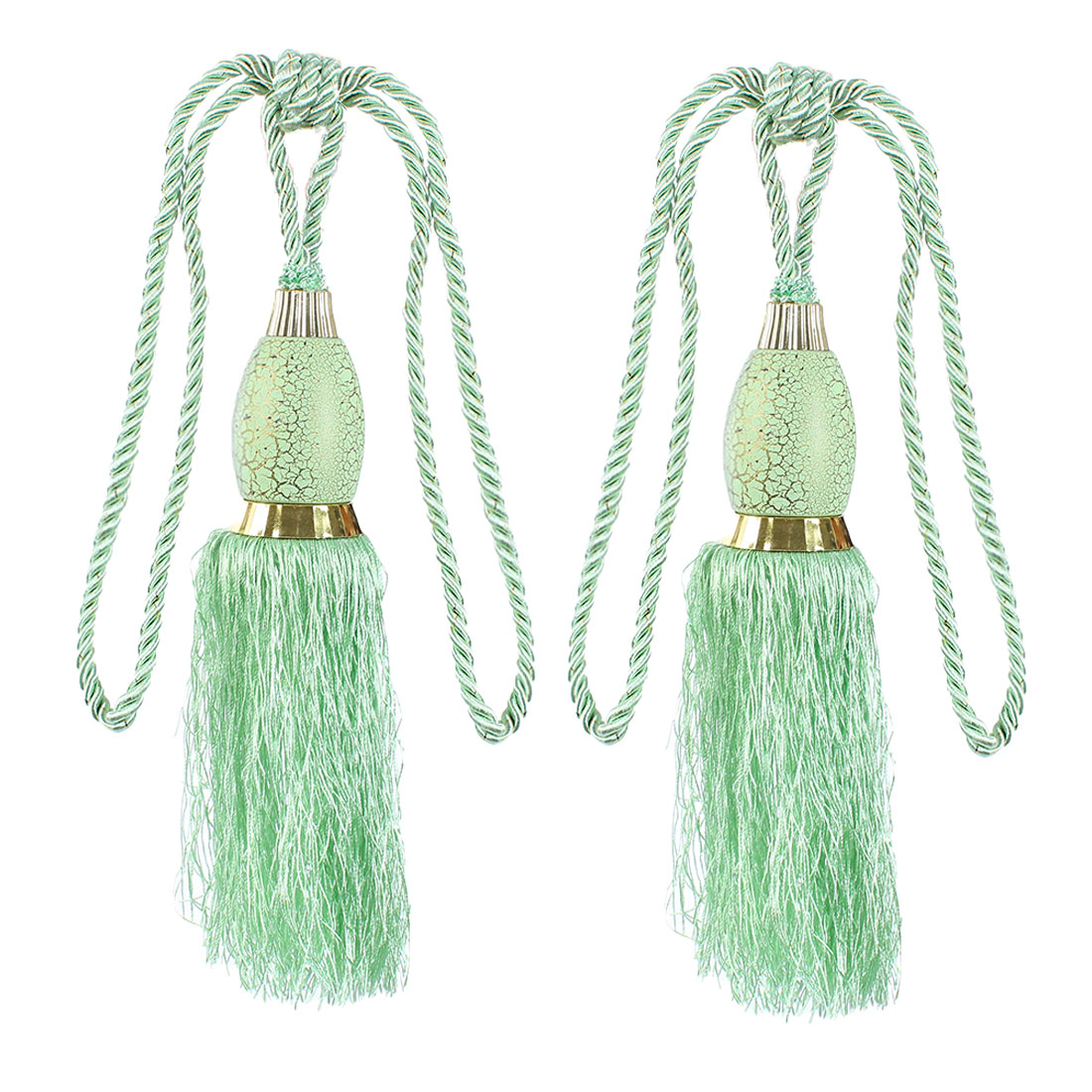 2Pcs Window Curtain Drapery Tassel Rope Tie Back Holdback Fringe Light Green
