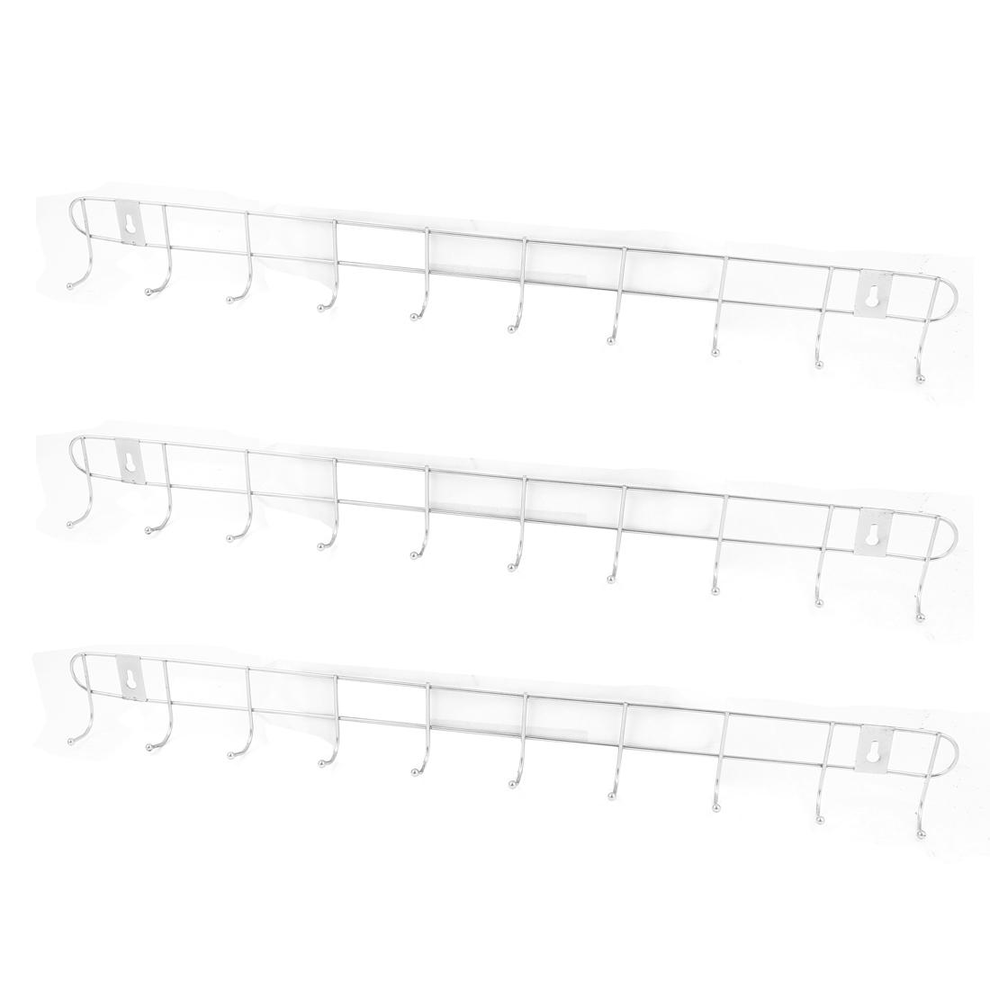 Home Bedroom Bathroom Hat Coat Towel Wall Mounted Metal 10 Hooks Hanger Rack Holder 3PCS