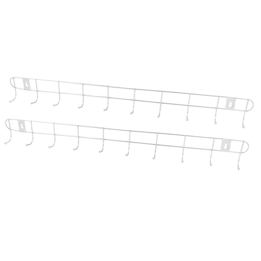 Home Bedroom Bathroom Hat Coat Towel Wall Mounted Metal 10 Hooks Hanger Rack Holder 2PCS