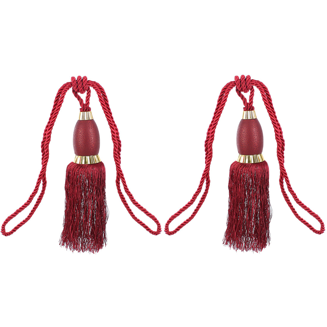 2Pcs Window Curtain Drapery Tassel Rope Tie Back Holdback Fringe Dark Red