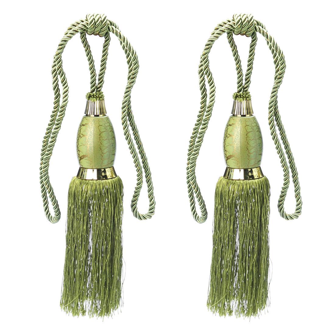 2Pcs Window Curtain Drapery Tassel Rope Tie Back Holdback Fringe Forest Green