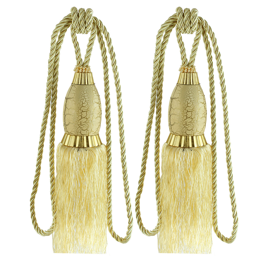 2Pcs Window Curtain Drapery Tassel Rope Tie Back Holdback Fringe Yellow