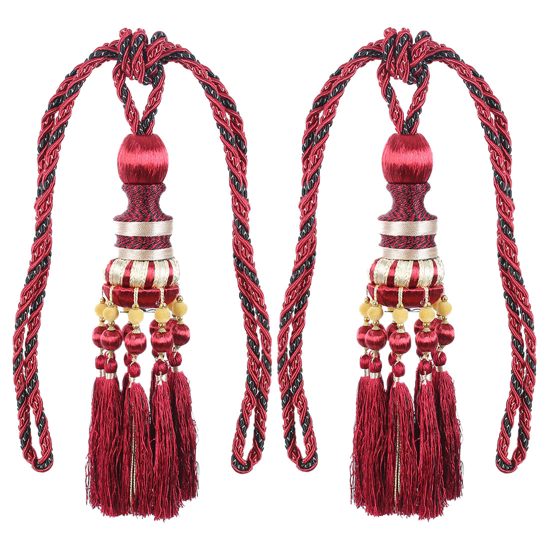 2Pcs Beaded Window Curtain Tassel Fringe Tieback Tie Back Home Decor Red