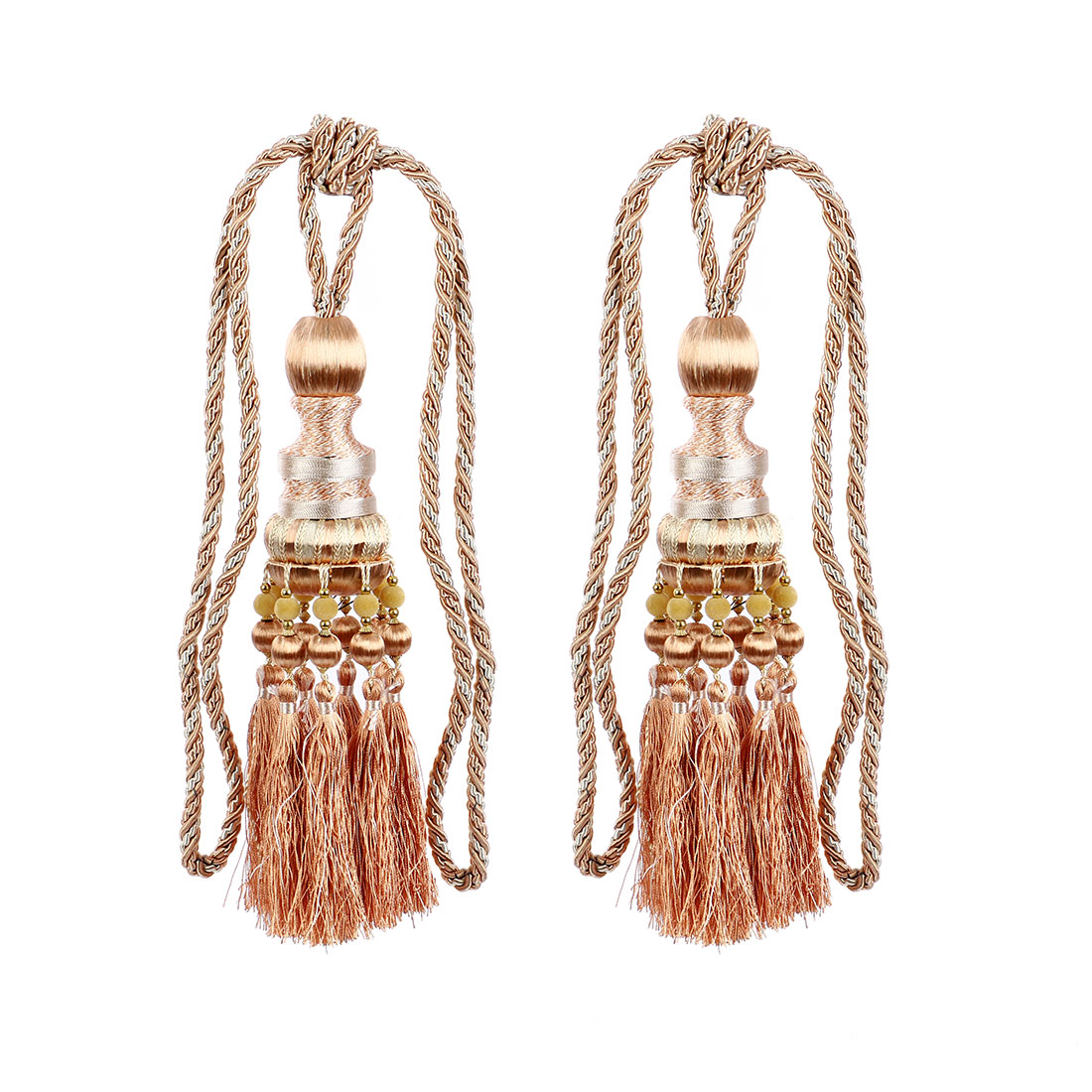 2Pcs Beaded Window Curtain Tassel Fringe Tieback Tie Back Moccasin Color