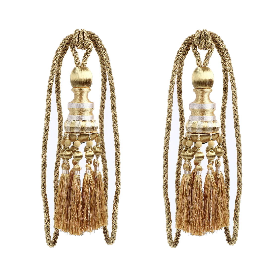 2Pcs Beaded Window Curtain Tassel Fringe Tieback Tie Back Home Decor Gold Tone