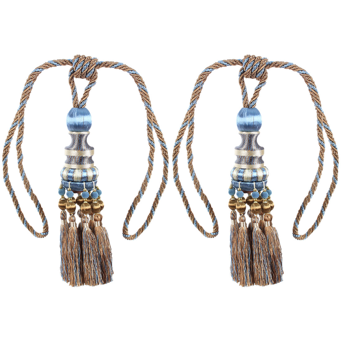 2Pcs Beaded Window Curtain Tassel Fringe Tieback Tie Back Home Decor Blue