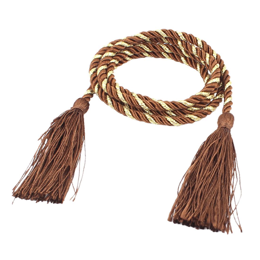 Window Curtain Tieback Tie Back Tassels Trim Rope Cord 133cm Coffee Color