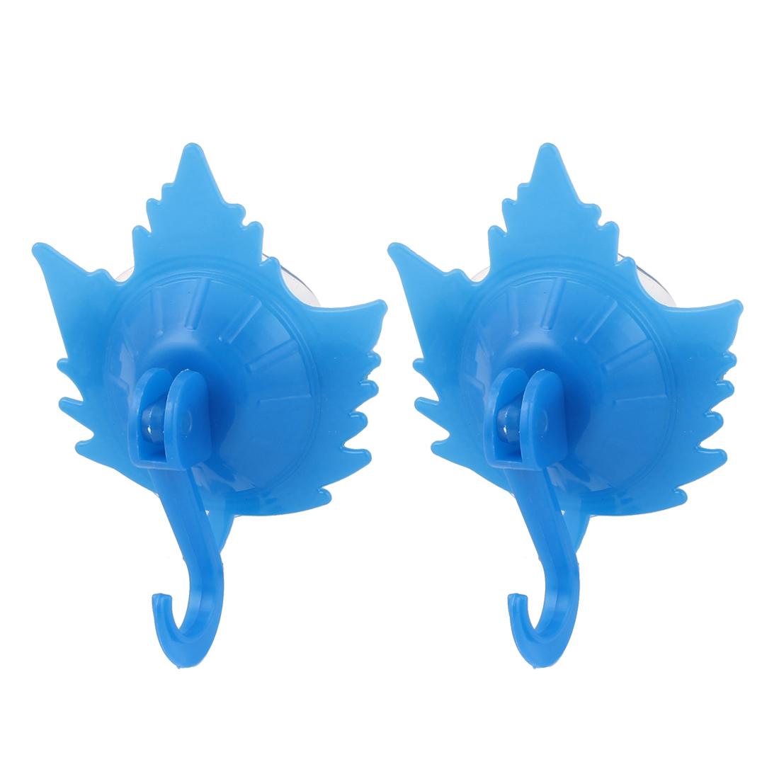 Kitchen Bathroom Plastic Leaf Shape Suction Cup Hook Towel Bag Holder Wall Hanger Blue 2pcs