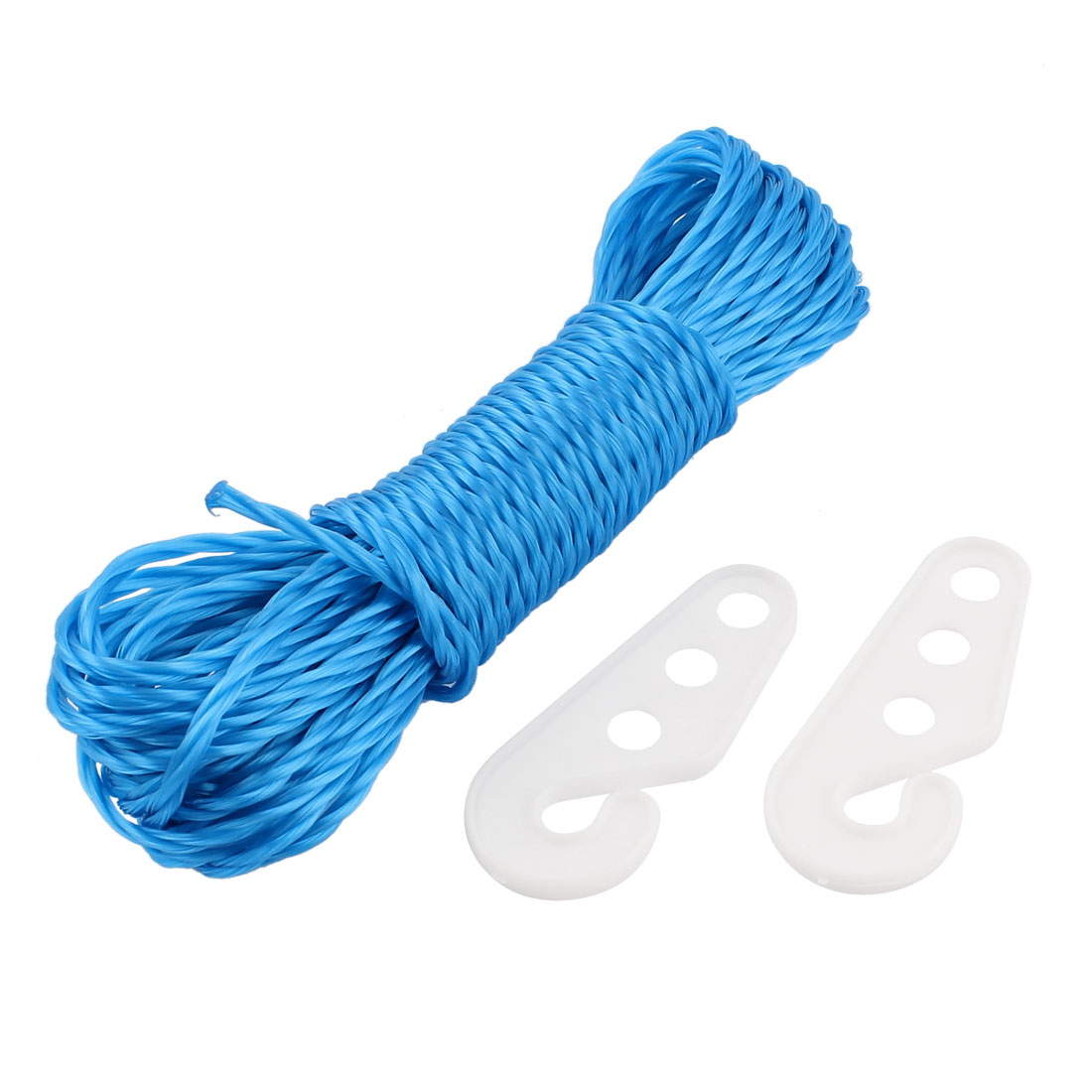 Camping Outdoor Laundry Nylon Clothesline Clothes Towels Hanger Line Rope String w Hooks 10M Long Blue