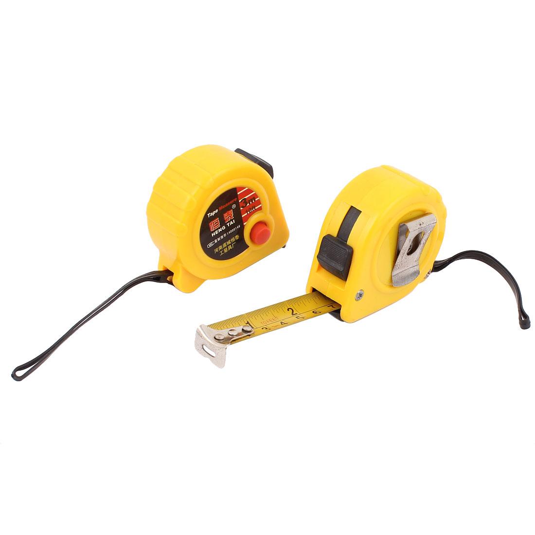 3Meters 10Ft Yellow Plastic Housing Retractable Lock Button Ruler Metric Measure Tape w String 2pcs