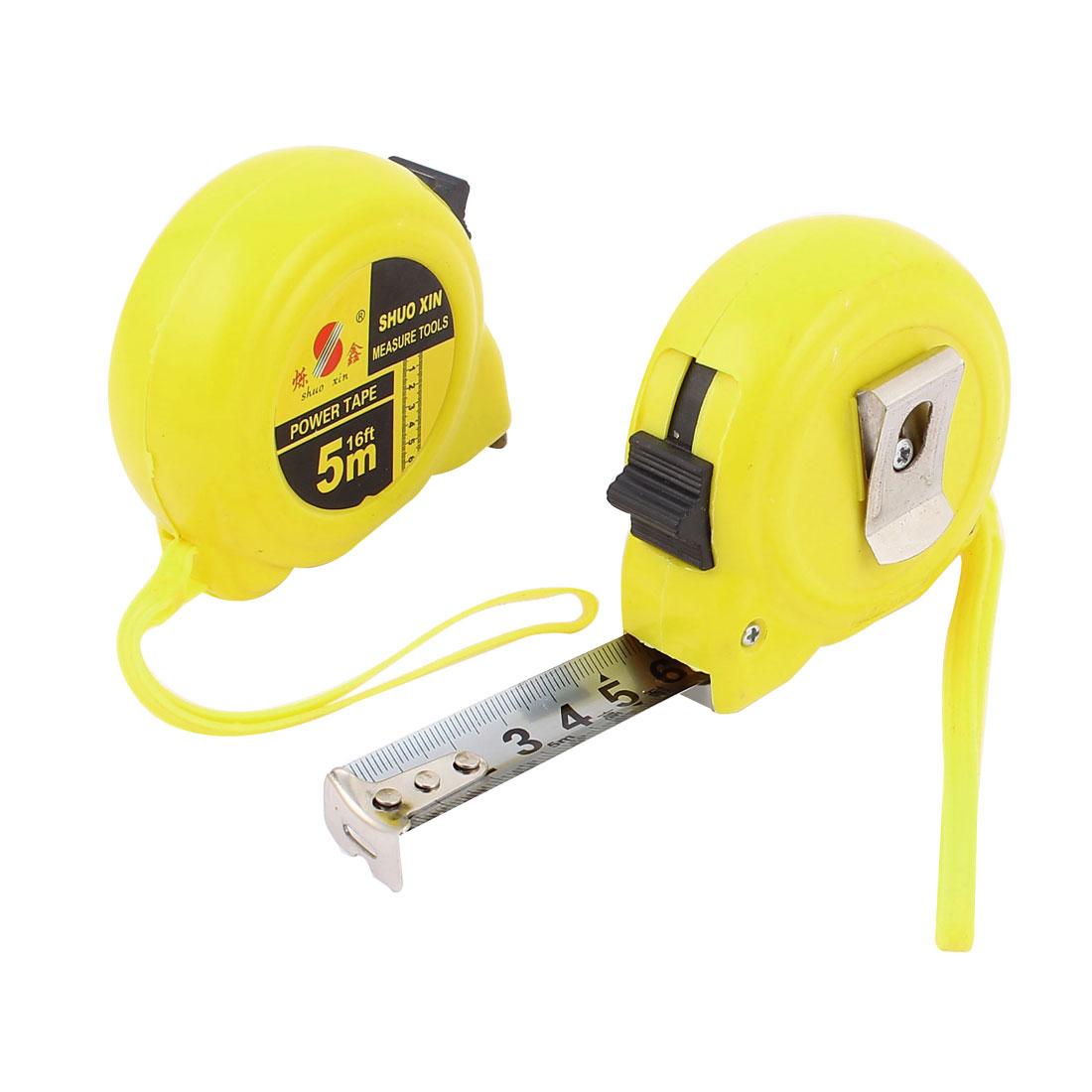 5M Yellow Casing Retractable Lock Button Belt Clip Ruler Metric Tape Measuring Tool 2pcs w String