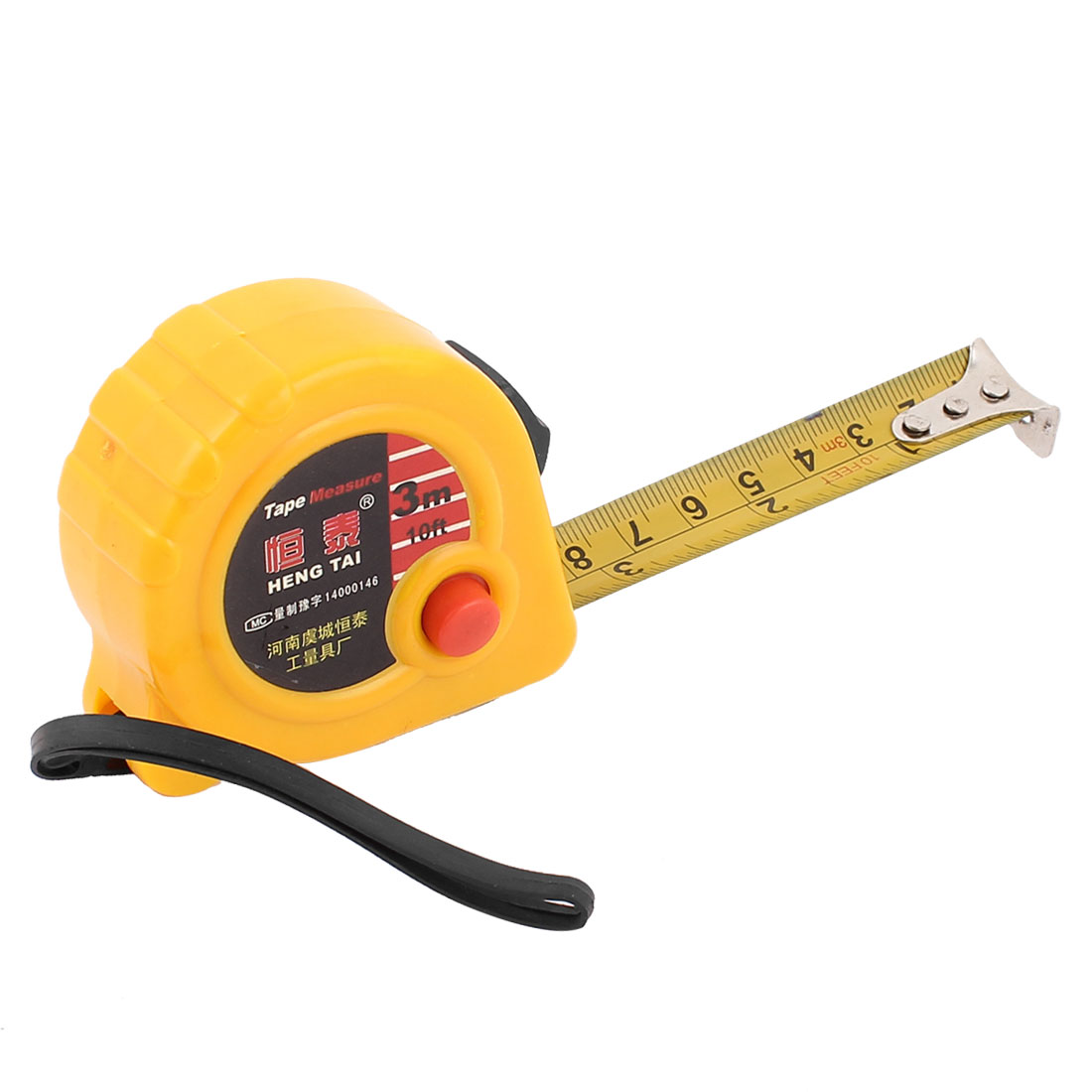 3Meters 10Ft Yellow Plastic Case Retractable Lock Button Ruler Metric Measure Tape w String