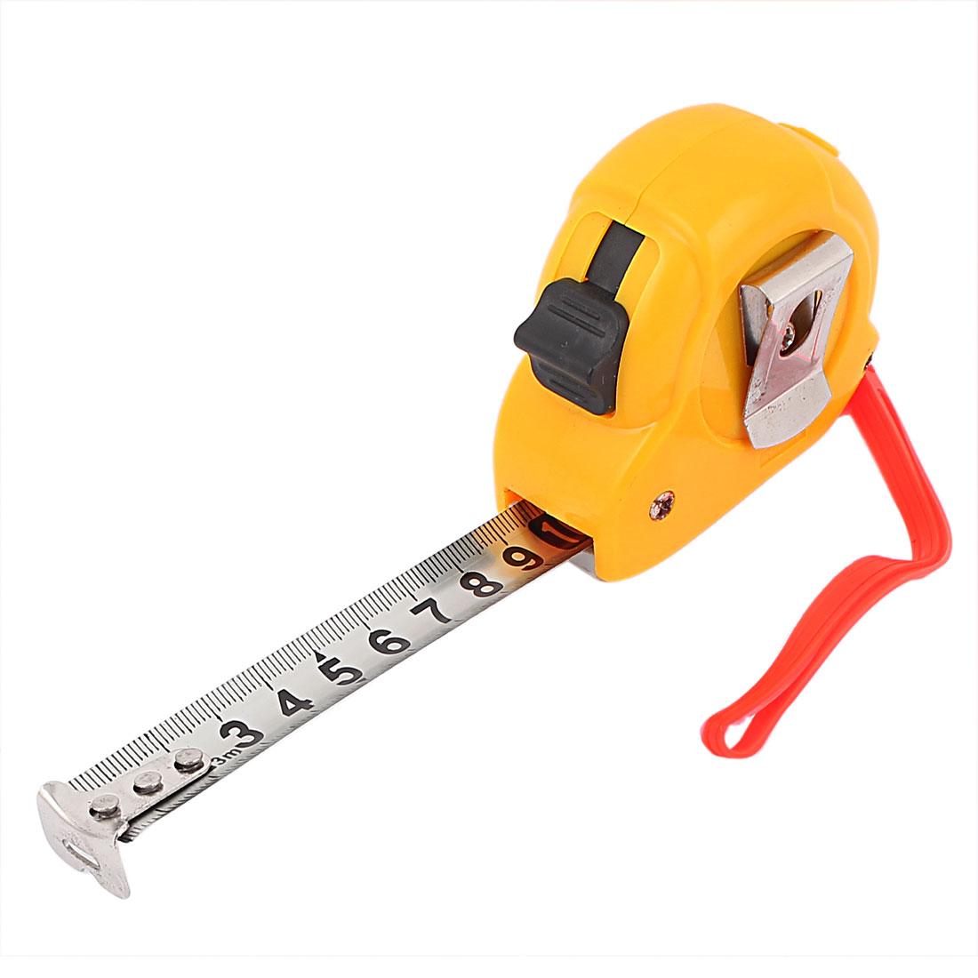 3Meters 10Ft Retractable Lock Button Hand Strap Belt Clip Ruler Metric Tape Measuring Tool